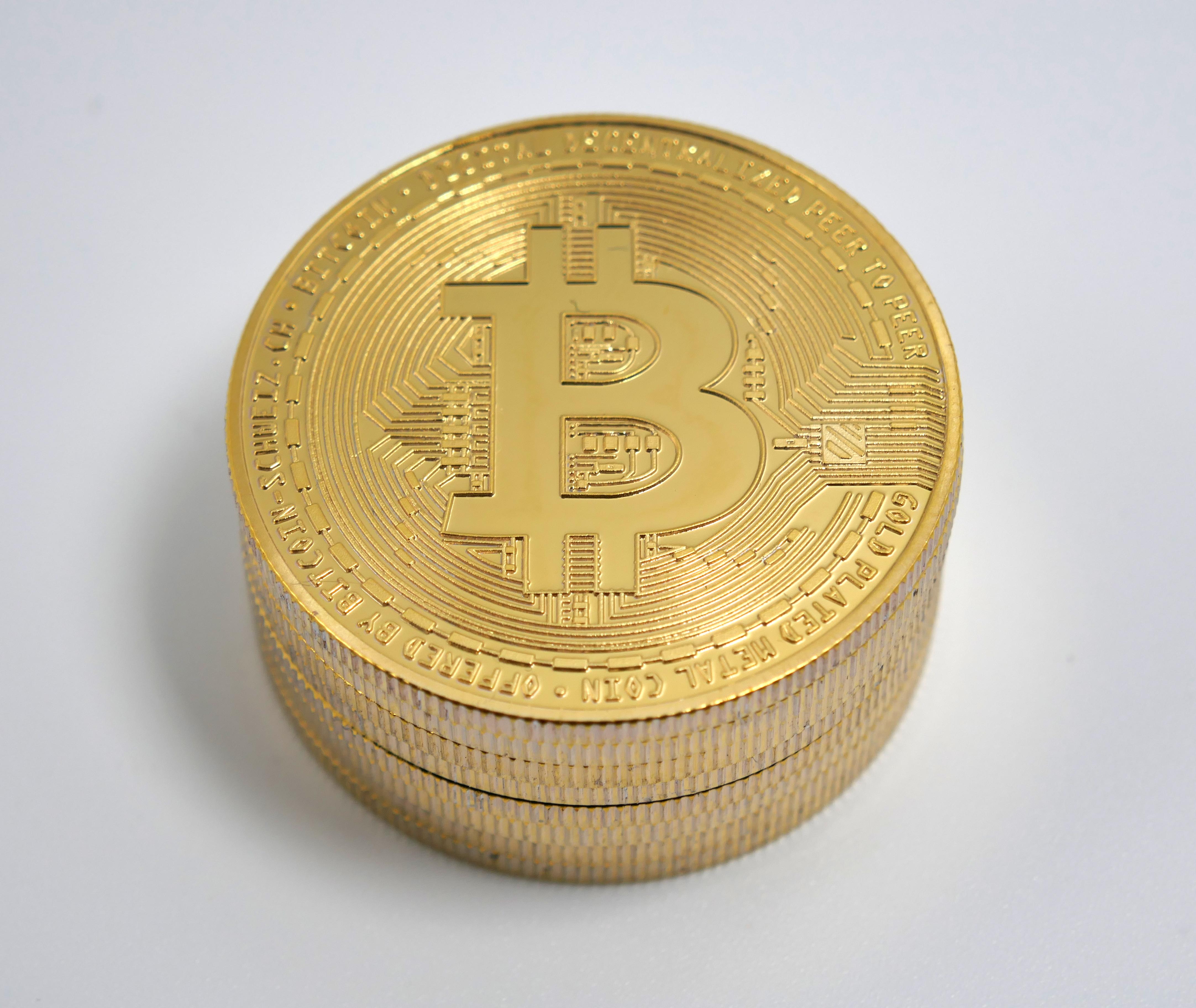 golden bitcoin pile